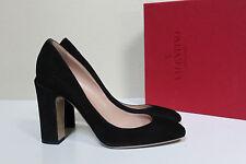 New sz 8 / 38.5 Valentino Black Suede Slip om Round Toe Pump Block Heel Shoes