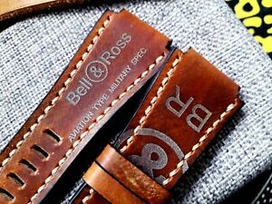 24mm handmade, leather watch strap, army, Bell & Ross logo, brown