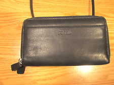 Fossil-Leather Wallet/Billfold w/Crossbody Strap-Double Zip-Around
