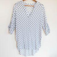 Entro Women's 3/4 Sleeve Oversized High Low Hem Tunic Blue Floral Print LARGE