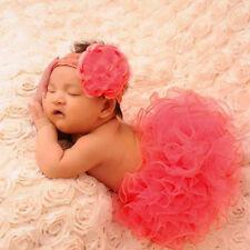Infant Newborn Tutu Skirt Clothes +Flower Headband Baby Girls Photo Prop Outfits