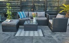 New Rattan Garden Furniture 5 Seater Sofa Set Patio Conservatory + rain cover