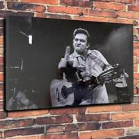 Johnny Cash Give Them The Finger Printed Canvas Picture Multiple Sizes 30mm Deep
