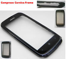TOUCH SCREEN DISPLAY VETRO VETRINO PER NOKIA LUMIA 610 NERO + CORNICE FRAME