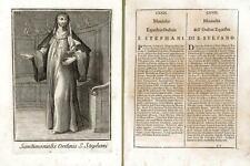 Incisione antica originale Monaca dell'Ordine Equestre di santo Stefano  1711