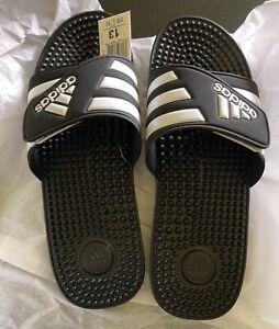 adidas Adissage Slide - Black/White, US 13