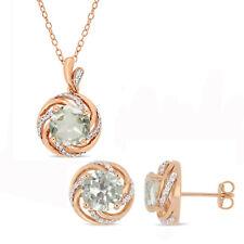 Amour Rose Plated Silver Green Amethyst Topaz & Diamond Swirl Halo Jewelry Set