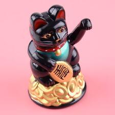 Winkekatze Maneki Neko Glücksbringer Glückskatze Große winkende Katze Schwarz