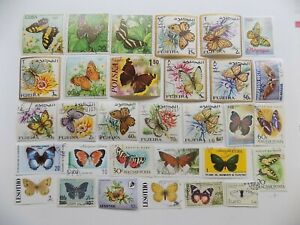 World Wide Topical Coll'n of used BUTTERFLY stamps -9-12-F-We combine shipping