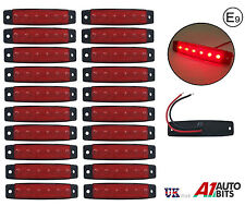 20x 12V 6 LED red side front marker lights lamps for trailer truck lorry E-mark