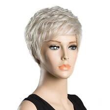 Fashion Wigs Natural Hair Wigs Human Hair Short Wavy Silver Wig for Women