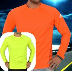 Adidas Xa 2in1 Men's Sports Jumper Sweatshirt Running Shirt Long Neon Green Red