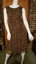 100% Silk Leopard Print Dress Size 6