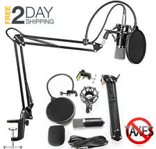 Podcast Microphone Studio Recording Kit Condenser Stand Podcasting Computer NEW
