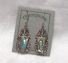 "ABALONE SHELL INLAID SCROLL FRAME STERLING SILVER DANGLE EARRINGS 1 1/8"" NEW"