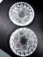 VTG set of 2  Clear pressed Glass Coaster signed Italy Small Dish 4.25""