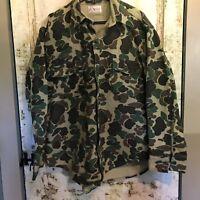 Vtg Orvis Mens Camouflage Shooting Shirt Size ? Chamois Cloth Hunting L/S EUC