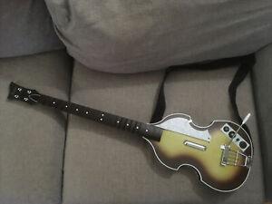 NO DONGLE Nintendo Wii The Beatles Rock Band Hofner Bass Guitar + Strap