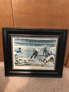 Johnny Unitas Signed/Autographed 9x12 Litho Print Framed 15x17 JSA LOA Colts HOF