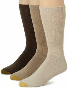 Gold Toe Men's Uptown Crew 3 Pack Socks, Multi, Sock Size 10-13/Shoe Size 6-12.5