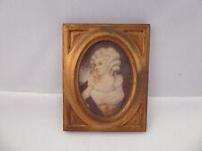 Vintage Small Miniature Portrait Painting Signed Lady