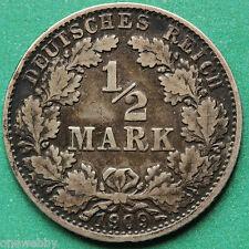 1909D Germany Silver 1/2 Half Mark SNo37177