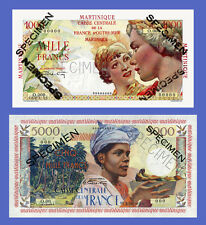 MARTINIQUE - Lots of 2 notes - 1000...5000 Francs - Reproductions