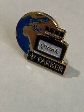 VINTAGE PARKER ENAMEL AND GOLD PLATED QUINK INK ADVERTISING PIN BADGE-NOS.