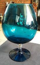 """Art Glass,Blue Stemmed Blown Balloon Brandy / Cognac Glass / Goblet 9.1/4"""" Tall"""