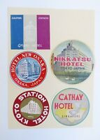 Vintage Luggage Trunk Labels Group Of 5 Stickers Unused Japan Singapore Lot#1