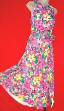 ~Vtg Floral Belted Full Circle Dress Sz L~(10/12) garden party Tea dress