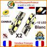 2 Ampoules LED T10 W5W 12 LED Blanc Canbus Anti Erreur Ampoule Veilleuse Voiture