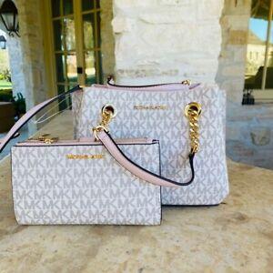 NWT Michael Kors  SM messenger teagen handbag/wallet options Powdered blush