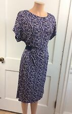 ADOLFO DOMINGUEZ Ruched Print Dress Cap Sleeve Side Cinched Women's 4