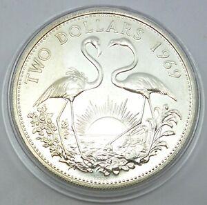 Bahamas 2 Dollars 1969 Silver Coin Elizabeth II - Two flamingos (T119)