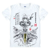 Anime Fate Stay Night Saber Casual T-shirt Short Sleeve Unisex Tops Ink style