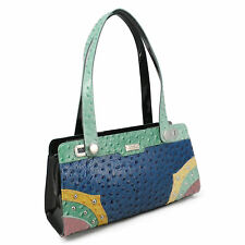 Serenade Ostrich Multi Print Genuine Leather Handbag (H79-9297)
