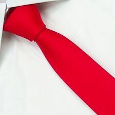 New Slim Solid Mens silk Tie groom wedding skinny red Necktie Sk13