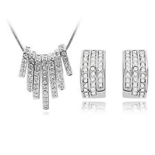 Diamant Kristall Weiß schmuckset von Stud Ohrringe und Halskette Anhänger S449