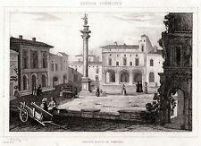 VERCELLI: Grande Piazza. Piemonte.Regno di Sardegna. ACCIAIO. Stampa Antica.1838