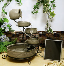 Bowl Water Feature Jug Cascade Solar Powered Vintage Terracotta Outdoor Garden