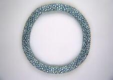 Aqua Silver-Lined Vintage-Bead Crochet Bracelet