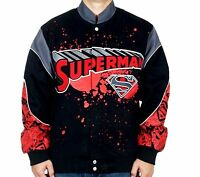 "Superman Jacket Comic Splat Red Black Cotton Twill Adult ""BLOWOUT SALE"""
