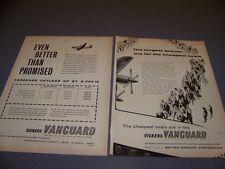 VINTAGE..(2PC) 1960 VICKERS VANGUARD...ORIGINAL SALES ADS  (528K)