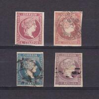 SPAIN 1856, Sc# 44-47, CV $41, part set, MH/Used