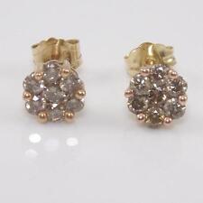 10K Yellow Gold 0.40ctw Brown Cocoa Diamond Cluster Stud Earrings GTA2