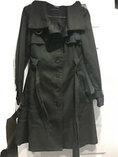 """Zara Trench Belted Coat Size  m 36""""Dark Green Colour"""