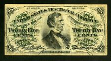 US Paper Money 1863 25c Fractional Currency NO RESERVE!