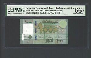 Lebanon 1000 Lira 2016 P90c* Replacement Uncirculated Grade 66