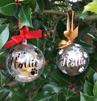 PERSONALISED PET TREAT BAUBLE - CAT DOG - CHRISTMAS TREE BAUBLE -
